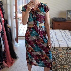 Vintage Geometric Print Midi Dress
